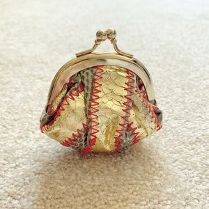Boho metallic leather woven travel coin purse